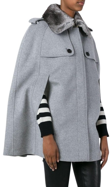 Preload https://item5.tradesy.com/images/burberry-gray-wool-cashmere-fur-collar-coat-jacket-ponchocape-size-14-l-22688374-0-1.jpg?width=400&height=650