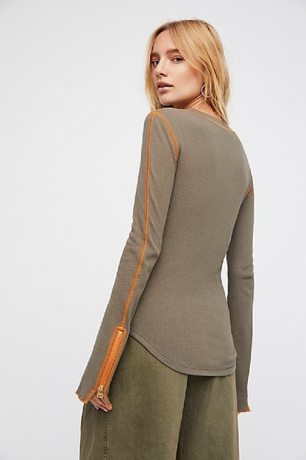 Free People Thermal Long Sleeve Contrast Army Green Zipper T Shirt Military