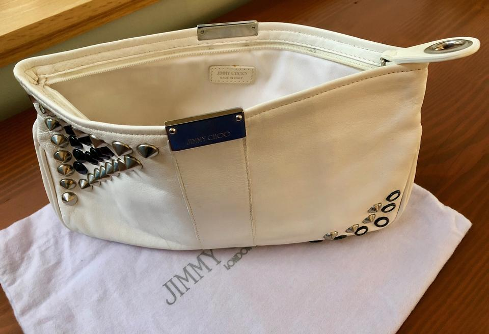 977e21dcbaa Jimmy Choo Zulu Stud White Leather Clutch - Tradesy