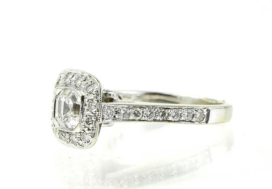 Diamond Ring Diamond Asscher Cut Halo Ladies White Gold Ring