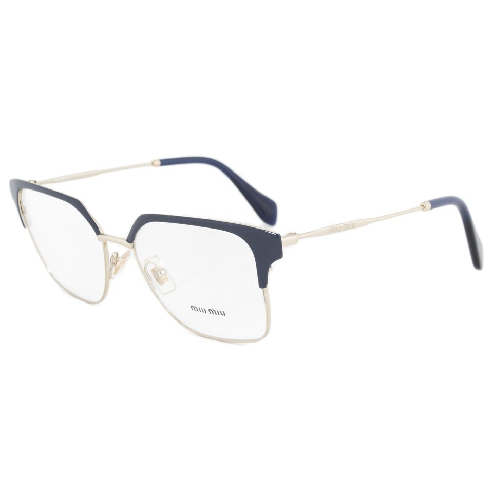 93b9bdd2d570 Miu Miu NEW Miu Miu VMU52O Navy Oversized Square Wired Eyeglasses Frames  Image 0 ...