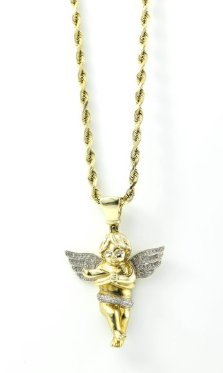 Diamond Cherub Gold Pendant Necklace Cherub diamonds pendant gold necklace.