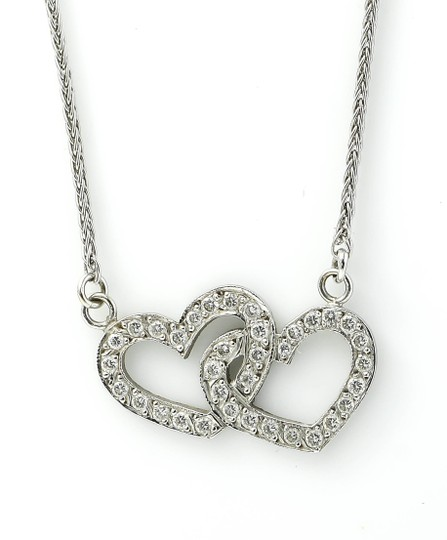 Two hearts diamond pendant necklace Double Heart Diamond Pendant White Gold Necklace