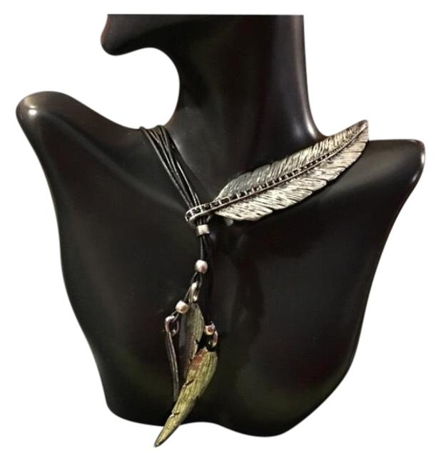 Item - Black Silver Bohemian Indian Style Leather Adjusted Necklace