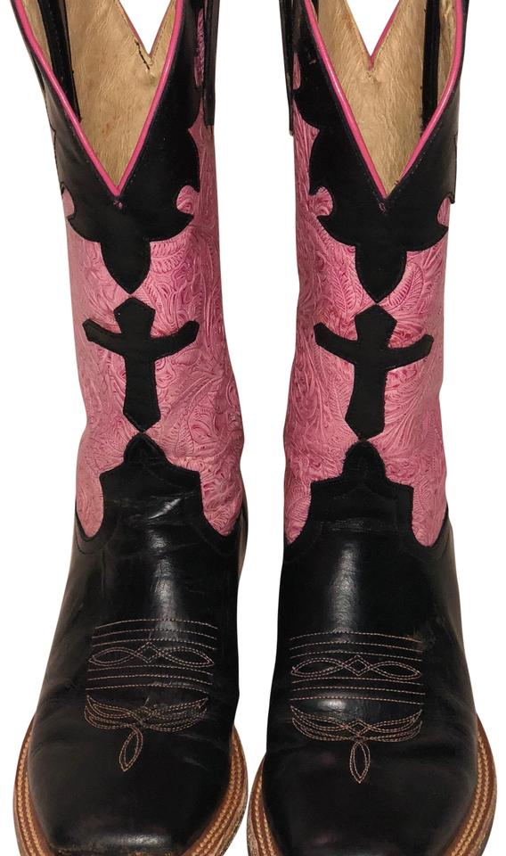 Anderson Bean Boot Cross Company Black and Pink Leather Tooled Cross Boot Cowboy Boots/Booties e4a5f9