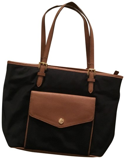 MICHAEL Michael Kors Large Leather Trim Tote in Black/Brown
