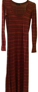 Red with various color stripes Maxi Dress by Saint Grace