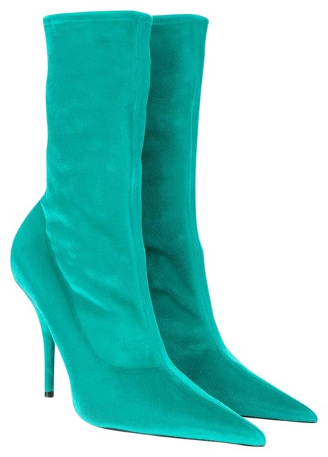 Item - Turquoise Knife Velvet Velours Ankle Heels Boots/Booties Size EU 38.5 (Approx. US 8.5) Regular (M, B)