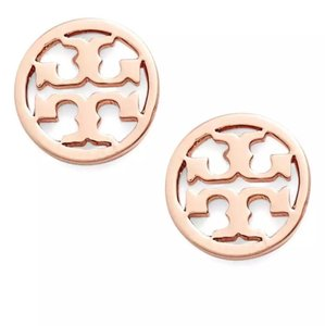 Tory Burch Classic Rose Gold Circle Logo Stud Earrings