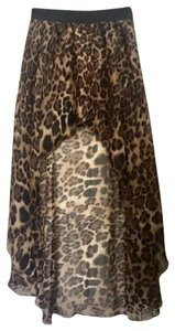 Foreign Exchange Maxi Skirt LEOPARD PRINT HI-LO STYLE