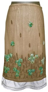 Schumacher Skirt TAN WITH TEAL EMBROIDERY AND BEADING