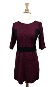 Desigual short dress Red Size 8 Knit Scribble Maroon Stretch on Tradesy