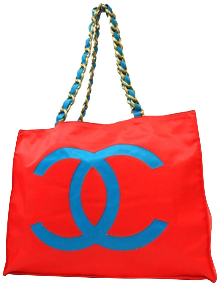 Chanel Chain Chain Neon Chain Bicolor Xl Tote in Red x Blue ... b974d63b55