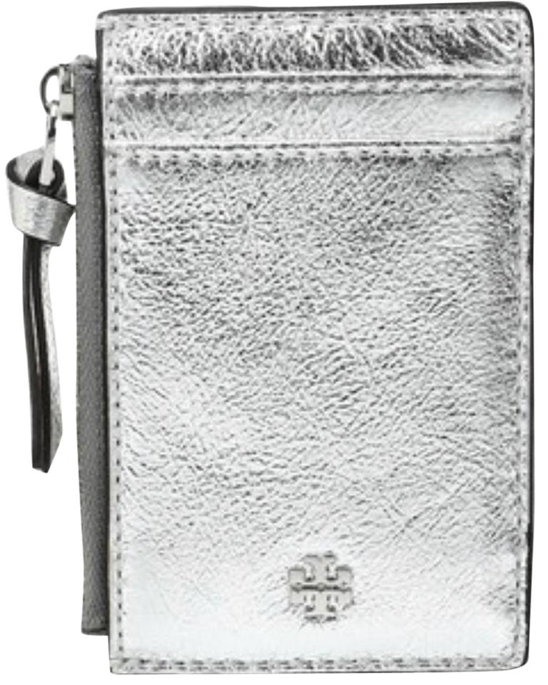 040c1c1f26d9 Tory Burch Silver Crinkle Metallic Zip Card Case Wallet - Tradesy