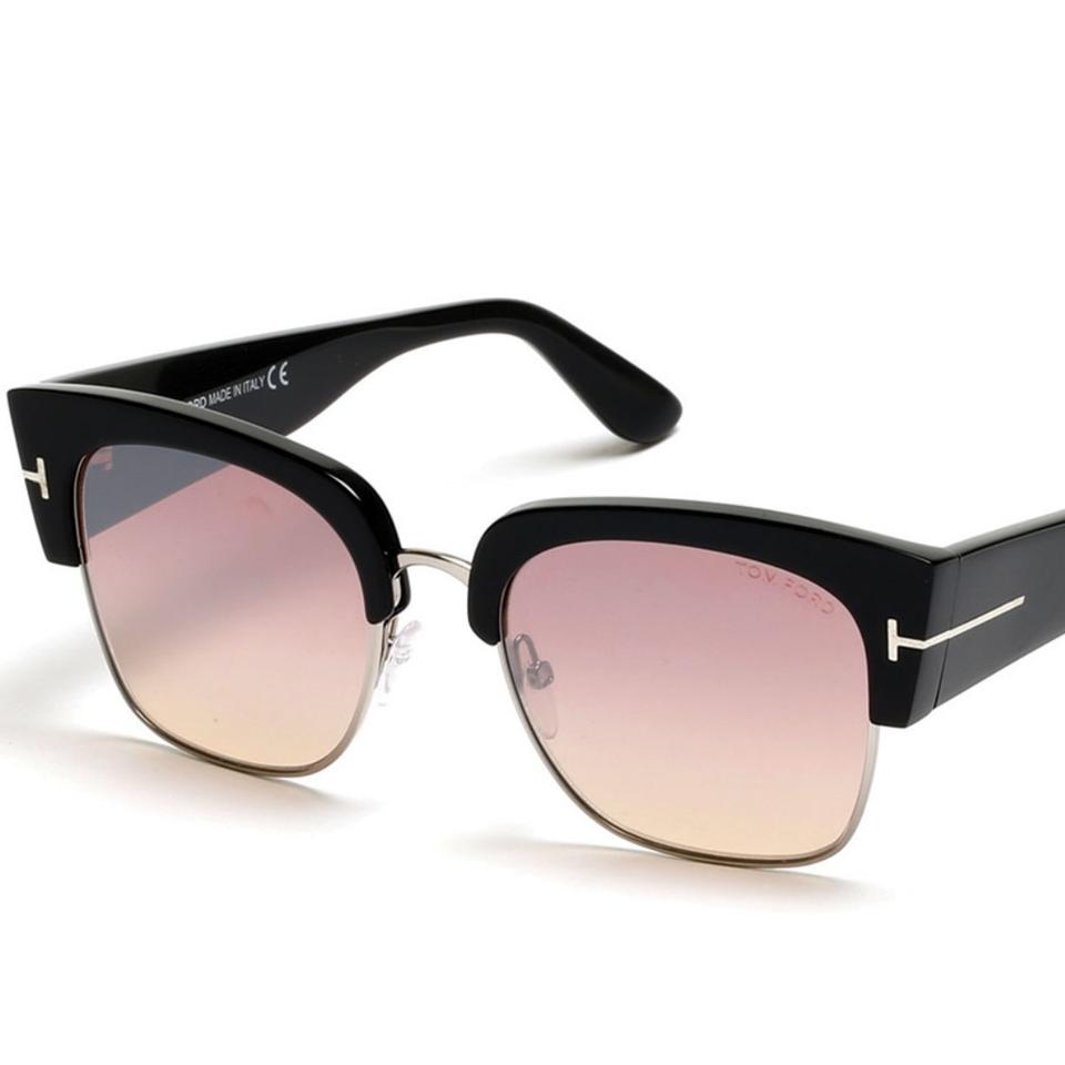5bc0a32c0c Tom Ford Black  Pink Dakota Semi-rimless Cat-eye Flash  Strawberry Silver Black Sunglasses