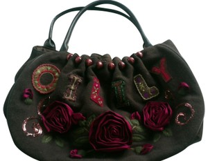 Oilily Unique Cool Funky Stylish Satchel in brown with multi