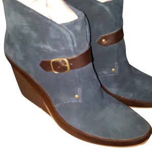 Camper Suede Wedge Leather Blue Boots