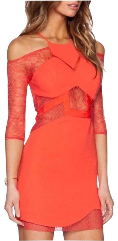 Three Floor Coral Vixen Fitted Mesh Short Cocktail Dress Size 0 (XS ...