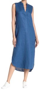 Blue Maxi Dress by Brochu Walker Linen Side Slits Side Slash Pockets Neck Slit Mid Weight Fabric