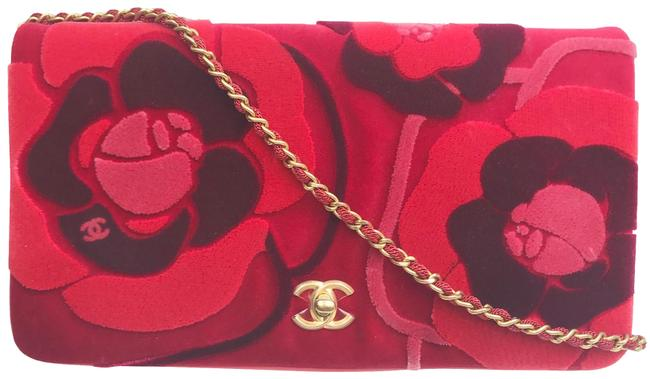 Chanel Crossbody Camellia Red Burgundy Leather Velvet Clutch Chanel Crossbody Camellia Red Burgundy Leather Velvet Clutch Image 1