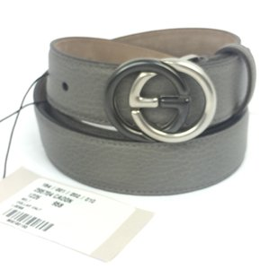 """Gucci Gucci GG Buckle Gray Leather Belt 34""""-38"""" (95-38) #295704"""