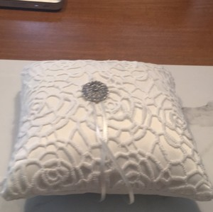 White Satin and Lace Ring Bearer Pillow