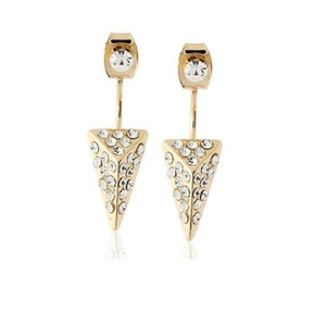 Rebecca Minkoff Gold & Pave Front / Back Earrings