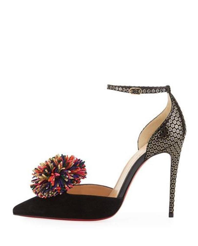 info for 105f2 35cbb Christian Louboutin Black/Gold/Multi Tsarou 100 Fringe Pom Pom Suede Ankle  Strap Heels Sandals Size EU 39 (Approx. US 9) Regular (M, B) 28% off retail