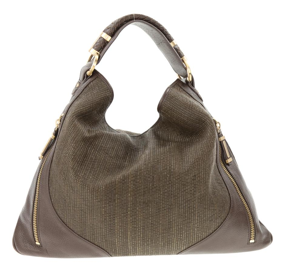 39119d4e66c7 Rachel Zoe Joni Raffla Woven Handle Hobo Brown Leather Shoulder Bag ...