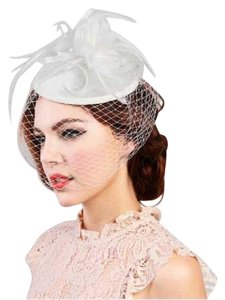 bridal Fascinator New Ivory Mini Church Fascinator With Flower Center & Feathers