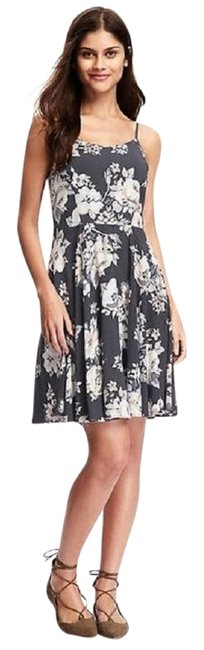 Item - Dark Gray Floral Spaghetti-strap Short Casual Dress Size 0 (XS)