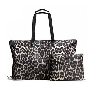 Coach Packable Tote Nylon Black, White, Gray, Ocelot Travel Bag