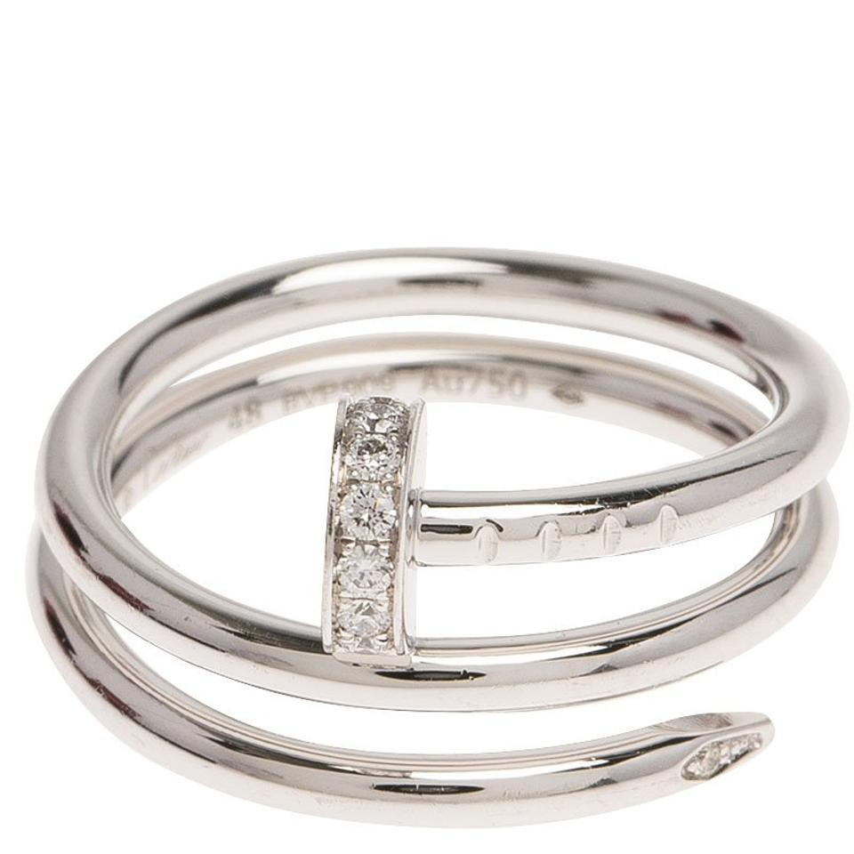 2ae8c33cbd1ba Cartier White Gold & Diamonds Juste Un Clou Double Wrap Ring 4% off retail