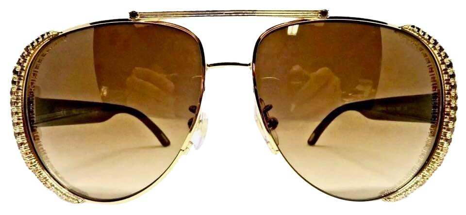 ec5a2ab0f97 Chopard Gradient Brown Gold 23k Plated Frame Crystals Pave Sunglasses