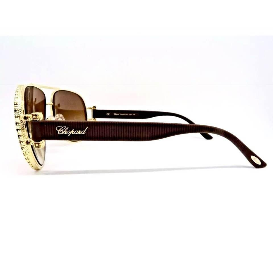a891cc377bb Chopard Gradient Brown Gold 23k Plated Frame Crystals Pave ...