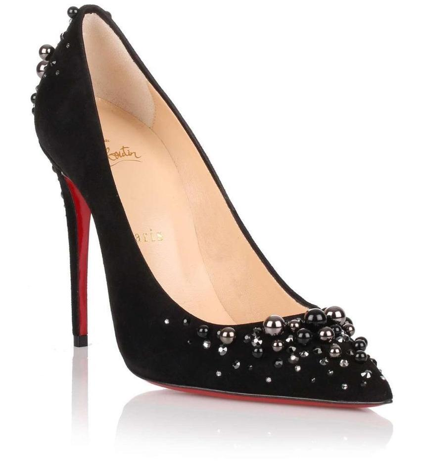 de6efbd6f0f3 Christian Louboutin Black Candidate Canditate Jewel Crystal Pearl Suede  Pumps
