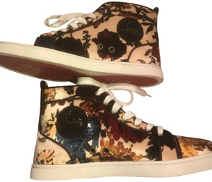 Christian Louboutin Hi Top Sneakers Trainers Velvet Floral Print Athletic