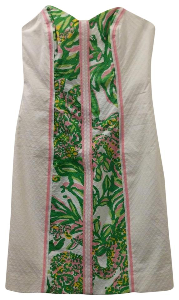 32aeb34f7dc Lilly Pulitzer short dress White with green and pink pattern on Tradesy  Image 0 ...