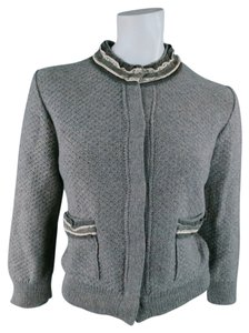 Fendi Ruffle Cropped Reverse Fall Cardigan