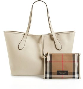 Burberry Leather Honeybrook Derby Ivory Tote in Limestone