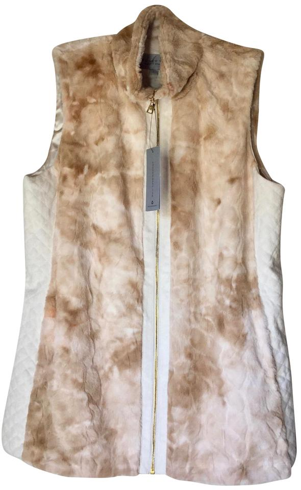 Andrew Marc Cream Faux Fur Sleeveless Vest Size 12 L