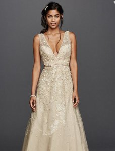 Melissa Sweet Champagne With Plunging Neckline. David's Bridal Feminine Wedding Dress Size 0 (XS)