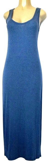 Item - Blue Sleeveless Scoop Neck Soft Stretchy 38 10 Long Casual Maxi Dress Size 8 (M)