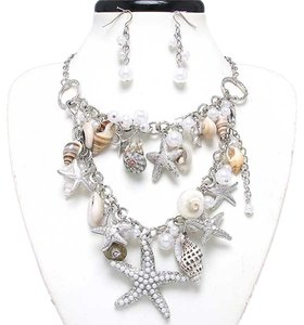 Luciano Dante Seaworld Sealife Seashell Starfish Silver Tone Pearl Necklace Bracelet And Earring
