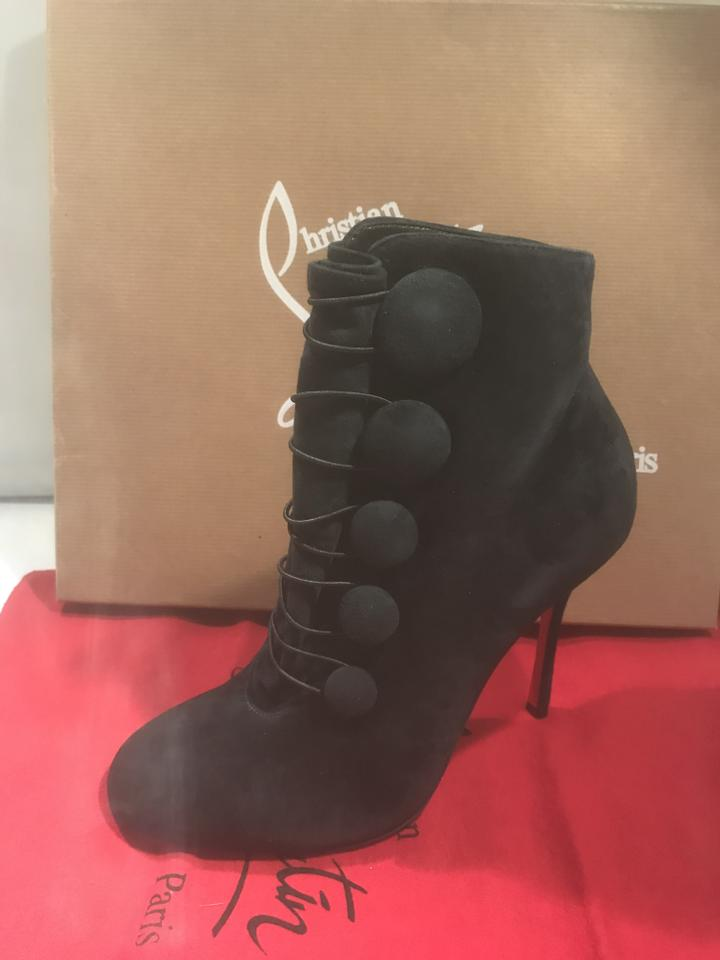 b476ee8f065 Christian Louboutin Black Booton Button Suede Ankle Heels Boots/Booties  Size EU 37.5 (Approx. US 7.5) Regular (M, B) 22% off retail