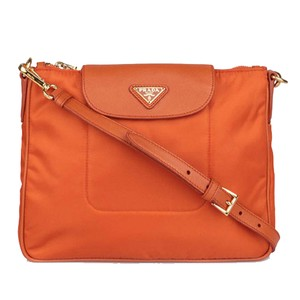 1a093e85a3aa Added to Shopping Bag. Prada Women's Nylon Cross Body Bag. Prada Bt0933 Tessuto  Leather Messenger Orange ...