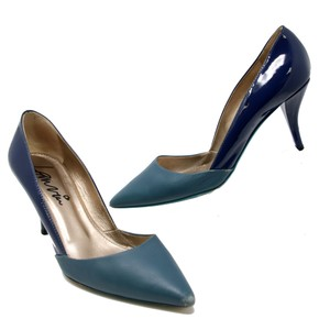 Lanvin Dior Celine Louboutin Peep Toe Textured Colorblock Blue Pumps