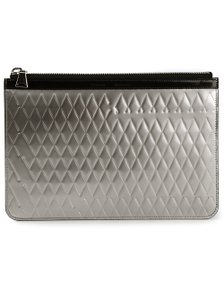 Proenza Schouler Leather Metallic Quilted Envelope Silver Clutch