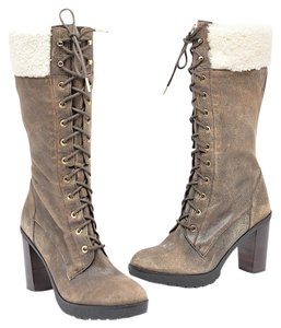 MICHAEL Michael Kors Shearling Distressed Brown Boots