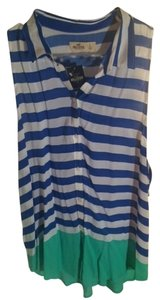 Hollister Top White, Blue, & Green Striped